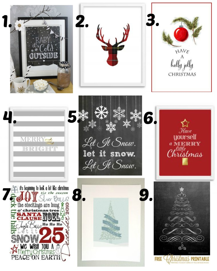 holiday printables 1-9